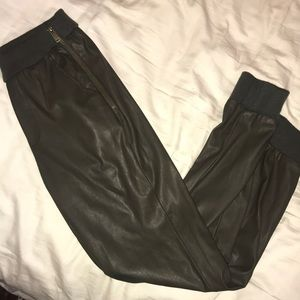 Forest green leather pants